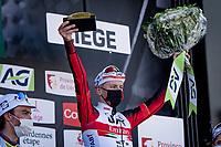 Tadej Pogačar (SVN/UAE-Emirates) wins the 107th Liège-Bastogne-Liège 2021 (1.UWT)<br /> World Champion Julian Alaphilippe (FRA/Deceuninck - QuickStep) finishes 2nd  <br /> <br /> 1 day race from Liège to Liège (259km)<br /> <br /> ©kramon