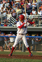 July 4, 2003:  shortstop Esteban DeLosSantos of the Batavia Muckdogs during a game at Dwyer Stadium in Batavia, New York.  Photo by:  Mike Janes/Four Seam Images