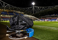 A television camera placed in position for live coverage at the University of Bolton stadium  <br /> <br /> Photographer Andrew Kearns/CameraSport<br /> <br /> The EFL Sky Bet League Two - Bolton Wanderers v Salford City - Friday 13th November 2020 - University of Bolton Stadium - Bolton<br /> <br /> World Copyright © 2020 CameraSport. All rights reserved. 43 Linden Ave. Countesthorpe. Leicester. England. LE8 5PG - Tel: +44 (0) 116 277 4147 - admin@camerasport.com - www.camerasport.com