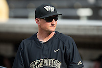 Wake Forest Demon Deacons volunteer assistant Joey Hammond (29) prior to the game against the Clemson Tigers at David F. Couch Ballpark on March 12, 2016 in Winston-Salem, North Carolina.  The Tigers defeated the Demon Deacons 6-5.  (Brian Westerholt/Four Seam Images)