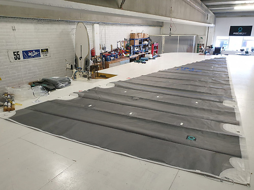 Fusion M6 Mainsail for a 42 footer being checked over in our Galway loft. Carbon Aramid sail suitable for Both Racing and Cruising