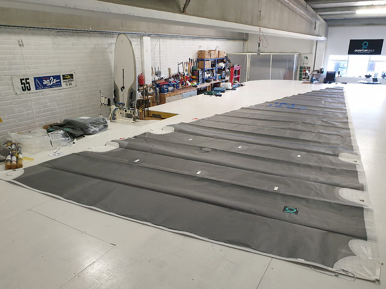 A Quantum Fusion M6 Mainsail for a 42 footer laid out in the Galway loft