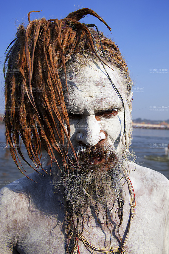 "India. Uttar Pradesh state. Allahabad. Maha Kumbh Mela. Royal bath on Mauni Amavasya Snan (Dark moon). The ritual ""Royal Bath"" is timed to match an auspicious planetary alignment, when believers say spiritual energy flows to earth. Naga (naked) Sadhus celebrates his joy after taking a dip in Sangam and worship the river Ganges. The Naga Sadhu have his body smeared with ashes. He has a shell in his hair as a follower of Shiva. The Kumbh Mela, believed to be the largest religious gathering is held every 12 years on the banks of the 'Sangam'- the confluence of the holy rivers Ganga, Yamuna and the mythical Saraswati. In 2013, it is estimated that nearly 80 million devotees took a bath in the water of the holy river Ganges. The belief is that bathing and taking a holy dip will wash and free one from all the past sins, get salvation and paves the way for Moksha (meaning liberation from the cycle of Life, Death and Rebirth). Bathing in the holy waters of Ganga is believed to be most auspicious at the time of Kumbh Mela, because the water is charged with positive healing effects and enhanced with electromagnetic radiations of the Sun, Moon and Jupiter. In Hinduism, Sadhu (good; good man, holy man) denotes an ascetic, wandering monk. Sadhus are sanyasi, or renunciates, who have left behind all material attachments. They are renouncers who have chosen to live a life apart from or on the edges of society in order to focus on their own spiritual practice. The significance of nakedness is that they will not have any worldly ties to material belongings, even something as simple as clothes. A Sadhu is usually referred to as Baba by common people. The Maha (great) Kumbh Mela, which comes after 12 Purna Kumbh Mela, or 144 years, is always held at Allahabad. Uttar Pradesh (abbreviated U.P.) is a state located in northern India. 10.02.13 © 2013 Didier Ruef"
