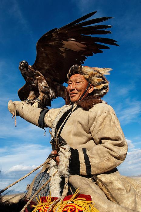 Men at the Altai eagle festival, Mongolia.
