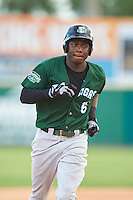 Daytona Tortugas right fielder Aristides Aquino (6) runs the bases after hitting a grand slam home run during a game against the Brevard County Manatees on August 14, 2016 at Space Coast Stadium in Viera, Florida.  Daytona defeated Brevard County 9-3.  (Mike Janes/Four Seam Images)