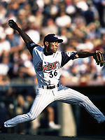 Ramon Ortiz of the Anaheim Angels during a 2000 season MLB game at Angel Stadium in Anaheim, California. (Larry Goren/Four Seam Images)