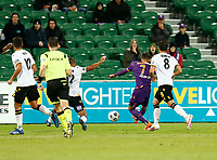 23rd May 2021; HBF Park, Perth, Western Australia, Australia; A League Football, Perth Glory versus Macarthur; Christopher Ikonomidis of Perth Glory has a shot from inside the box but it is saved by the goalkeeper
