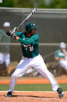 Chicago State University Cougars first baseman Aveeno Nasiloski #21 during a game against the St. Bonaventure Bonnies at South County Regional Park on March 3, 2013 in Punta Gorda, Florida.  (Mike Janes/Four Seam Images)