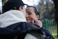 Magda Piwonska kisses her boyfriend Kamil Wozniak goodbye before he leaves to join his army unit. This year's class of drafted recruits is the final one after 90 years of compulsory military service, as Poland's army turns professional in 2009....