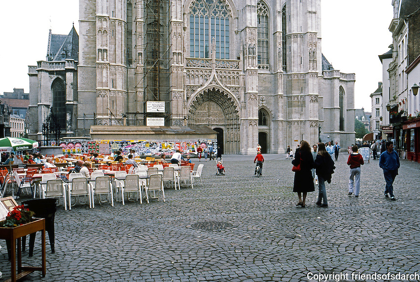 Antwerp: Looking across Handschoen Markt to Cathedral of Our Lady.  Photo '87.