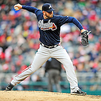 31 March 2011: Atlanta Braves pitcher Peter Moylan in relief action on Opening Day against the Washington Nationals at Nationals Park in Washington, District of Columbia. The Braves shut out the Nationals 2-0 to start off the 2011 Major League Baseball season. Mandatory Credit: Ed Wolfstein Photo
