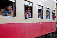 Myanmar, Burma.  Passengers in Coaches at Kalaw Train Station.