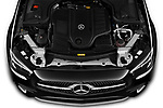 Car Stock 2021 Mercedes Benz E-Class-Cabriolet E450 2 Door Convertible Engine  high angle detail view