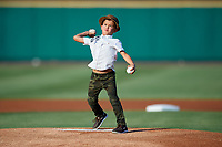 Garrett Jones' son throws out the first pitch prior to a game between the Rochester Red Wings and the Lehigh Valley IronPigs on June 30, 2018 at Frontier Field in Rochester, New York.  Lehigh Valley defeated Rochester 6-2.  (Mike Janes/Four Seam Images)