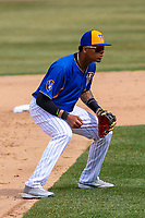 Wisconsin Timber Rattlers shortstop Gilbert Lara (11) during a Midwest League game against the Quad Cities River Bandits on April 9, 2017 at Fox Cities Stadium in Appleton, Wisconsin.  Quad Cities defeated Wisconsin 17-11. (Brad Krause/Four Seam Images)