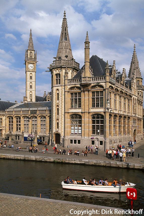 Belgien, Flandern, die Leie und Haeuser an der Graslei in Gent