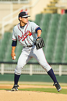 Rome Braves starting pitcher Rafael Briceno (48) in action against the Kannapolis Intimidators at CMC-Northeast Stadium on August 25, 2013 in Kannapolis, North Carolina.  The Intimidators defeated the Braves 9-0.  (Brian Westerholt/Four Seam Images)