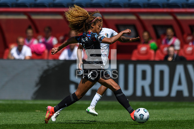 BRIDGEVIEW, IL - JUNE 5: Casey Krueger #6 of the Chicago Red Stars dribbles the ball during a game between North Carolina Courage and Chicago Red Stars at SeatGeek Stadium on June 5, 2021 in Bridgeview, Illinois.