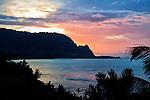 Sunset looking across Hanalei Bay toward Bali Hai from Princeville, Kauai, Hawaii