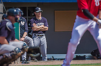11 March 2014: New York Yankees Manager Joe Girardi watches play from the dugout during a Spring Training game against the Washington Nationals at Space Coast Stadium in Viera, Florida. The Nationals defeated the Yankees 3-2 in Grapefruit League play. Mandatory Credit: Ed Wolfstein Photo *** RAW (NEF) Image File Available ***