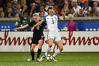 Cincinnati, OH - Tuesday September 19, 2017: Betsy Hassett, Samantha Mewis during an International friendly match between the women's National teams of the United States (USA) and New Zealand (NZL) at Nippert Stadium.