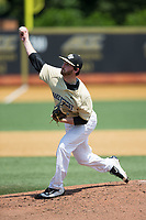 Wake Forest Demon Deacons starting pitcher Connor Johnstone (3) delivers a pitch to the plate against the Pitt Panthers at David F. Couch Ballpark on May 20, 2017 in Winston-Salem, North Carolina. The Demon Deacons defeated the Panthers 14-4.  (Brian Westerholt/Four Seam Images)
