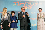(L to R) Actress Sylvia Hoeks, actor Harrison Ford and actress Ana de Armas speak during a Japan Premiere for the film Blade Runner 2049 on October 24, 2017, Tokyo, Japan. Cast of the film Blade Runner 2049 greeted the fans at the event. The movie Japanese theaters on October 27. (Photo by Rodrigo Reyes Marin/AFLO)