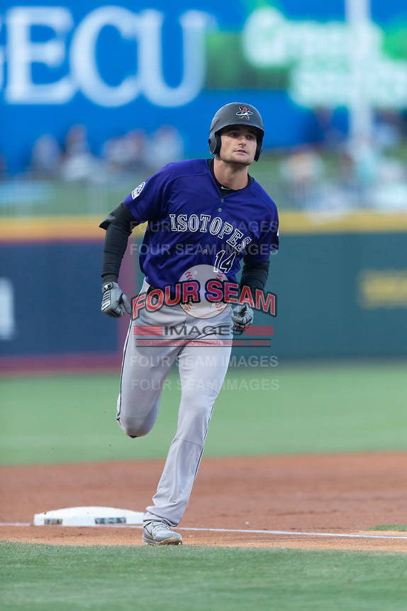 Albuquerque Isotopes right fielder Sam Hilliard (14) rounds third base after hitting a home run during a Pacific Coast League game against the El Paso Chihuahuas at Southwest University Park on May 10, 2019 in El Paso, Texas. Albuquerque defeated El Paso 2-1. (Zachary Lucy/Four Seam Images)