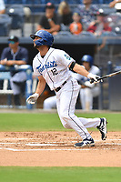 Asheville Tourists Matt Barefoot (12) swings at a pitch during a game against the Greenville Drive on July 18, 2021 at McCormick Field in Asheville, NC. (Tony Farlow/Four Seam Images)