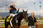 September 27 2014: Shared Belief with Mike Smith up  wins the Awesome Again Stakes at Santa Anita Park in Arcadia CA. Alex Evers/ESW/CSM