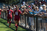 STANFORD, CA - SEPTEMBER 12: Avani Brandt and fans after a game between Loyola Marymount University and Stanford University at Cagan Stadium on September 12, 2021 in Stanford, California.