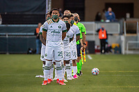 SAN JOSE, CA - MAY 15: Portland Timbers players line up for the National Anthem during a game between San Jose Earthquakes and Portland Timbers at PayPal Park on May 15, 2021 in San Jose, California.