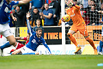 St Johnstone v Rangers…22.09.19   McDiarmid Park   SPFL<br />Murray Davidson appeals to the assistant after his shot was blocked on the line<br />Picture by Graeme Hart.<br />Copyright Perthshire Picture Agency<br />Tel: 01738 623350  Mobile: 07990 594431