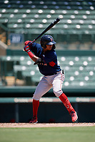 GCL Red Sox Nilo Rijo (24) bats during a Gulf Coast League game against the GCL Orioles on July 29, 2019 at Ed Smith Stadium in Sarasota, Florida.  GCL Red Sox defeated the GCL Pirates 9-1.  (Mike Janes/Four Seam Images)