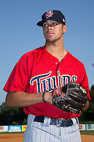Elizabethton Twins pitcher Alex Robinson (37) poses for a photo prior to the game against the Kingsport Mets at Hunter Wright Stadium on July 9, 2015 in Kingsport, Tennessee.  The Twins defeated the Mets 9-7 in 11 innings. (Brian Westerholt/Four Seam Images)