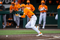 Tennessee Volunteers second baseman Max Ferguson (4) in action against the Vanderbilt Commodores on Robert M. Lindsay Field at Lindsey Nelson Stadium on April 17, 2021, in Knoxville, Tennessee. (Danny Parker/Four Seam Images)