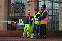 """17/01/17 **WITH VIDEO**<br /> <br /> A muck tractor and trailer has dumped its full load on the steps of Derby Crown Court this morning.<br /> <br /> The driver left his filthy cargo spread out over the stairs and pathway to the court house in an apparent protest against """"a severely flawed judicial system"""", according to a printed sign left in his cab.<br /> <br /> It read: """" What a shame!!! What a shame to have to resort to this. Today is a personal protest against the severely flawed judicial system that has consistently failed to listen to simple truth and reason. Sorry for any inconvenience caused (to the general public)""""<br /> <br /> David Carter from Derby was passing by on his bike when it happened: """"He was spreading the muck all over the steps when I went past, it was quite a mess. I'd love to know why he felt he had to resort to such a measure, but he didn't want to say anything to me.""""<br /> <br /> Andrew Simpson, from Derby, saw it and said: """"I wondered what what going on when I saw the tractor and trailer stop outside the court so I decided to stay and see what happened. He didn't say why he was doing it, but said there was a note in his tractor cab that explained it. Fair play to the chap - he was fed up and he got his message across.""""<br /> <br /> Julie Adams from Sinfin said: """"There was an awful lot when he had just done it, but it's being cleaned up quickly. What a mess. But thank goodness it wasn't manure, that would have been horrid.""""<br /> <br /> All Rights Reserved: F Stop Press Ltd. +44(0)1773 550665  www.fstoppress.com"""