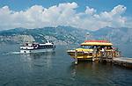 Italy, Veneto, Lake Garda, Malcesine: small harbour at East Bank of Lake Garda, landing stage | Italien, Venetien, Gardasee, Malcesine: kleiner Hafen am Ostufer des Gardasees, Schiffsanlegestelle