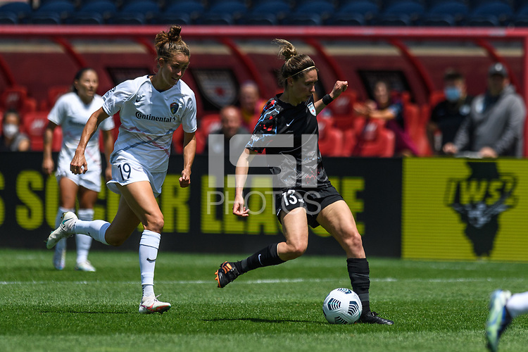 BRIDGEVIEW, IL - JUNE 5: Morgan Gautrat #13 of the Chicago Red Stars kicks the ball during a game between North Carolina Courage and Chicago Red Stars at SeatGeek Stadium on June 5, 2021 in Bridgeview, Illinois.