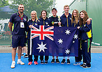 GER - Mannheim, Germany, May 25: During the prize giving ceremony at the international witsun U16 Girls and Boys tournament on May 25, 2015 at Mannheimer HC in Mannheim, Germany. Final table U16 Girls: 1 - Germany, 2 - The Netherlands, 3 - Australia, 4 - Belgium; U16 Boys: 1 - Australia, 2 - Germany, 3 - Belgium, 4 - The Netherlands. (Photo by Dirk Markgraf / www.265-images.com) *** Local caption ***