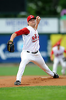 Lowell Spinners' pitcher Brian Johnson #46 during his first professional start versus the State College Spikes at LeLacheur Park in Lowell, Massachusetts on July 29, 2012. He was a first round draft pick of the Boston Red Sox out of the University of Florida, taken 31st overall.  (Ken Babbitt/Four Seam Images)