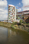 Affordable housing development of flats for rent and shared ownership by East Homes Housing Association overlooking the site of the London 2012 Olympic Games in Stratford.