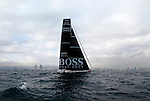 Start of the Barcelona World Race, Barcelona, Spain..Andy Meiklejohn and Wouter Verbraak crew on the IMOCA 60 Hugo Boss design by Juan kouyoumdjian..The Barcelona World Race is the first only double-handed (two-crew) regatta around the world. This is a non-stop regatta with some outside assistance permitted, although subject to rules and  penalties.