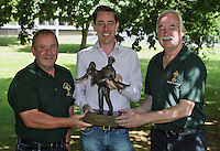 **NO REPRODUCTION FEE**<br /> 16/07/14 Ray McHugh, left and Paddy Rock, organisers of Cong Festival with  Ryan Tubridy pictured  after  signing his name and making a cast of his hands for the Cong Hands of Fame wall.  Ryan was the first person to make a cast his hands for the Cong Hands of Fame Wall which will be cast in bronze, and feature casts of the hands of  famous people from all walks of life. It will be unveiled in  October in the town of Cong in Mayo.<br /> Picture Colin Keegan, Collins Dublin.<br /> **NO REPRODUCTION FEE**