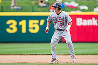 Mike Trout (23) of the Arkansas Travelers leads off second base during a game against the Springfield Cardinals on May 10, 2011 at Hammons Field in Springfield, Missouri.  Photo By David Welker/Four Seam Images.