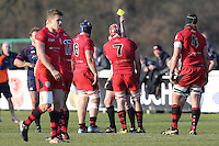 Gary Graham  of Jersey Reds is given a yellow card during the Greene King IPA Championship match between London Scottish Football Club and Jersey at Richmond Athletic Ground, Richmond, United Kingdom on 18 February 2017. Photo by David Horn / PRiME Media Images.