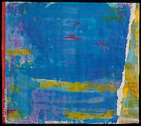 """""""On The Bay""""; Contemporary quilt by artist Marie Jensen, using appliqué, a fusible web and hand painted fabrics. 32""""x28"""""""