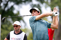 3rd July 2021, Detroit, MI, USA;   Joaquin Niemann hits his tee shot on the second hole on July 3, 2021 during the Rocket Mortgage Classic at the Detroit Golf Club in Detroit, Michigan.