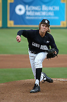 Tanner Brown (39) of the Long Beach State Dirtbags pitches against the Nebraska Cornhuskers in the second game of a doubleheader at Blair Field on March 5, 2016 in Long Beach, California. Long Beach State defeated Nebraska, 3-1. (Larry Goren/Four Seam Images)
