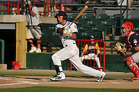 Burlington Bees Ranyelmy Alberto (12) swings during the Midwest League game against the Peoria Chiefs at Community Field on June 9, 2016 in Burlington, Iowa.  Peoria won 6-4.  (Dennis Hubbard/Four Seam Images)